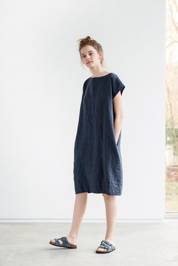 Charcoal linen dress with decorative buttons in the back / Washed ...