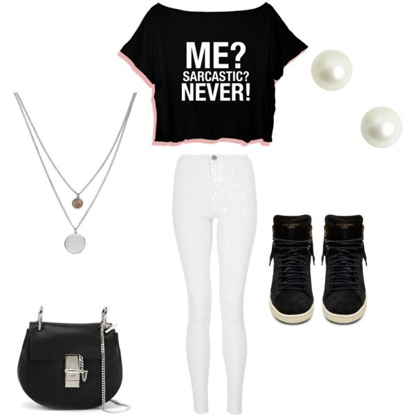 Sarcastic? No by katie-miller-vi on Polyvore featuring polyvore, fashion, style, Quiz, Yves Saint Laurent, Chloé and Kenneth Cole
