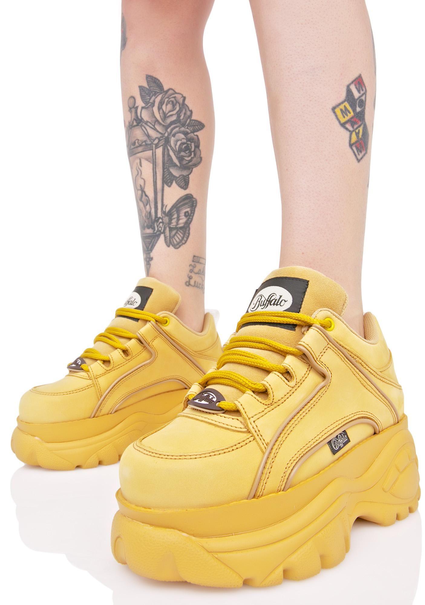 Nubuck Beige Platform Sneakers | Buffalo boots, Platform