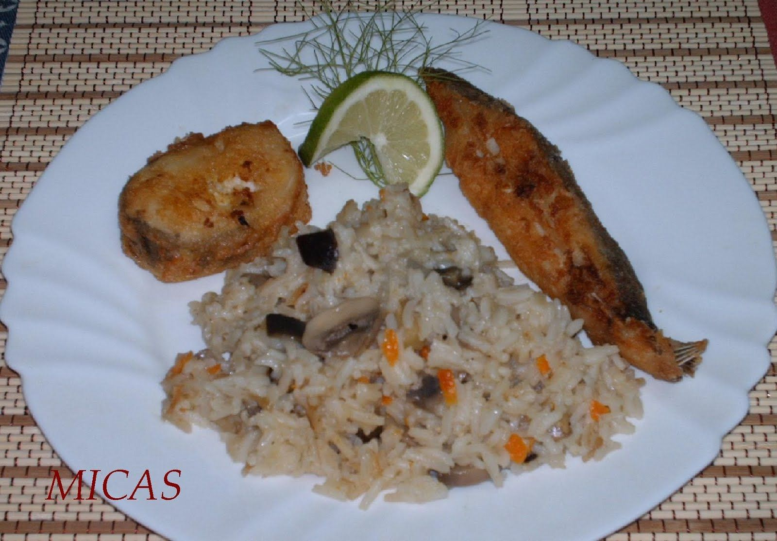 Pilaf com Legumes e Peixe Panado
