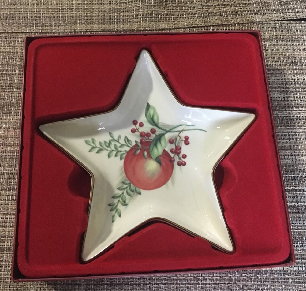 Lenox Williamsburg Gold Trim Boxwood and Pine Star Dish Excellent | eBay