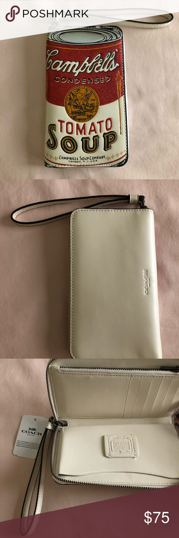 Coach Campbell Soup Coach Wallet Brand New White Leather Wallet And White Interior Pewter Zipper And Handy Wrist Strap Re Coach Wallet Wallet Leather Wallet