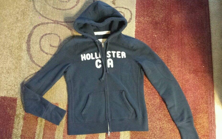 Hollister Womens Jr Blue Long Sleeve Full Zip Hoodie Sz L #Hollister #Hoodie