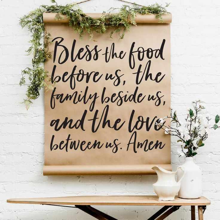 Add farmhouse style to any given wall with these printed calligraphy scrolls. Adjust the bottom scroll with 4 easy magnets to adjust the height to the way you wish. Unroll the scroll, adjust the magnets and length, and hang on the wall. SIZING: Regular: 3' wide x 5' long, can always be unrolled for longer length Mini