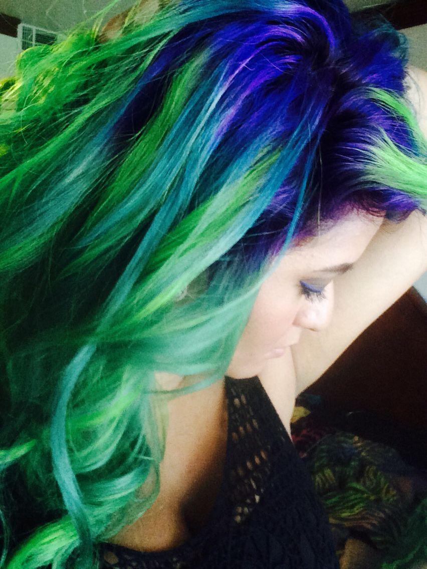 Purple, green and teal hair #mermaidhair #peacockhair ...