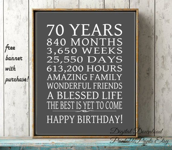 70th Birthday Sign Dad Gift FREE PRINTABLE 70 Year Digital File Instant Download Birth