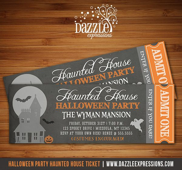 Printable Haunted House Chalkboard Ticket Invitation Costume - printable event tickets