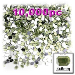 10000-pc Acrylic Flatback Rectangle Rhinestones 4x6mm Olive Green