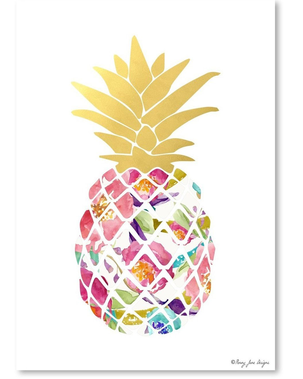 Spotted This Watercolor Floral And Gold Pineapple By Penny Jane Designs On Rue La Shop Quickly