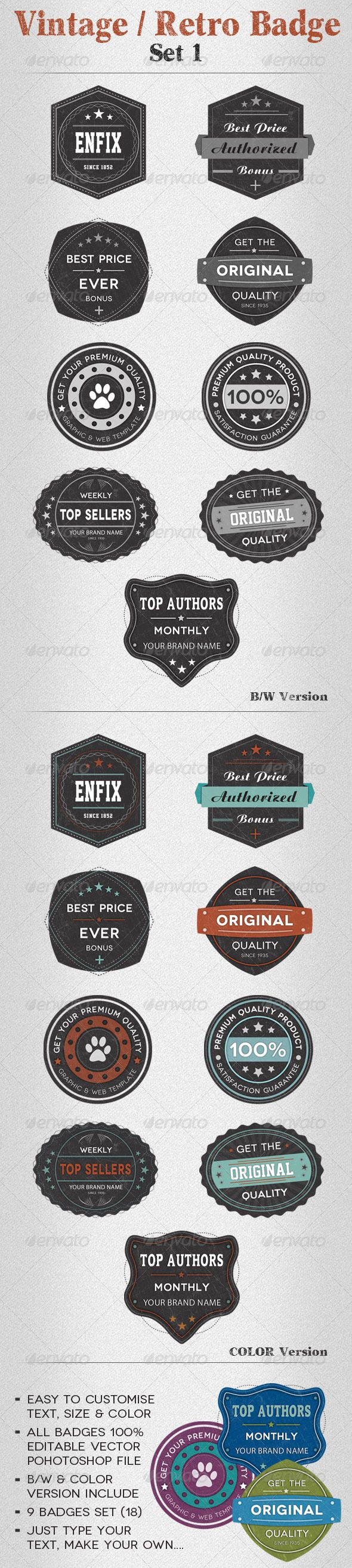 Vintage  Retro Badge Set   Badges Template And Logos