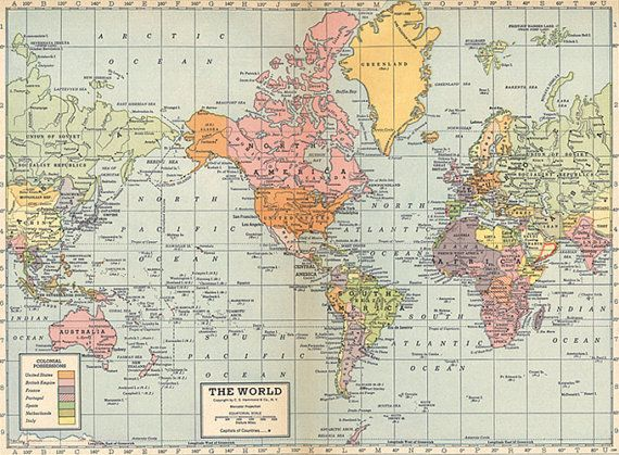 World map printable digital by AntiqueDigitalPrint on Etsy Crafts - copy world map africa continent