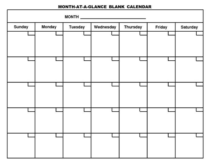 Printable Blank Calendar Page Homeschool Pinterest Blank - monday to sunday schedule template