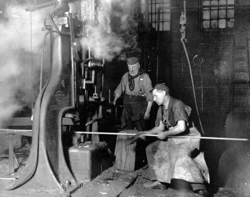 Steelworkers at the Homestead Steel works (circa 1900)   Steel worker, Steel  mill, Pennsylvania history