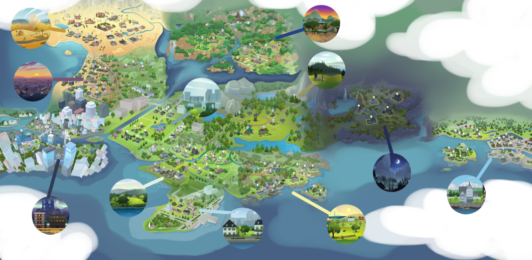 """Here's How The Sims 4 Would Look with a """"Connected World"""" Map 