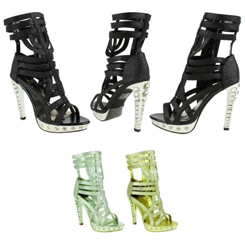 Rhinestone Black Lace-Up Sandals 12 Pairs Pre-packed