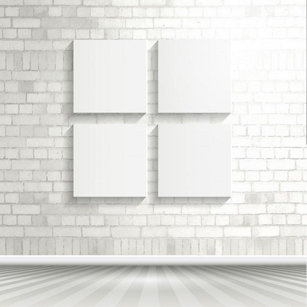 Blank Canvases On A Brick Wall Free Vector Brick Wall White Brick Background White Brick Walls