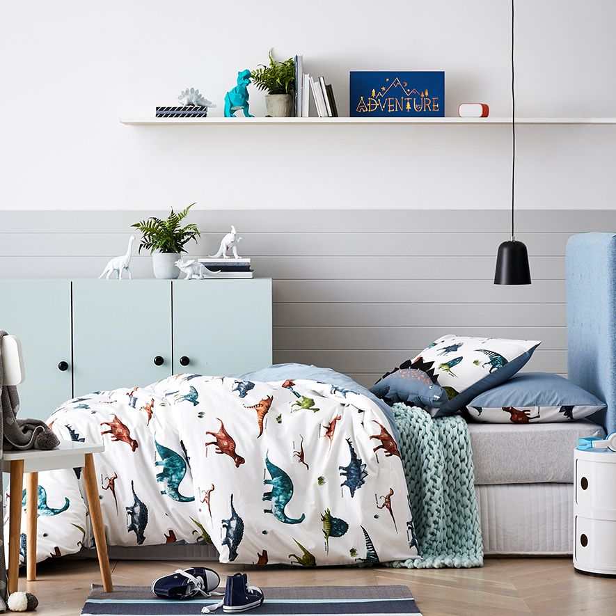 Eli Osaurus Is A Fully Reversible Cotton Quilt Cover Set With A Range Of Dinosaurs With Thei Kids Bedroom Inspiration Kids Bedroom Designs Boy Toddler Bedroom