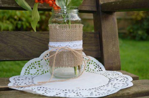 Rustic Wedding Burlap Hessian & Vintage Lace Glass Jars Tealight Holders Retro
