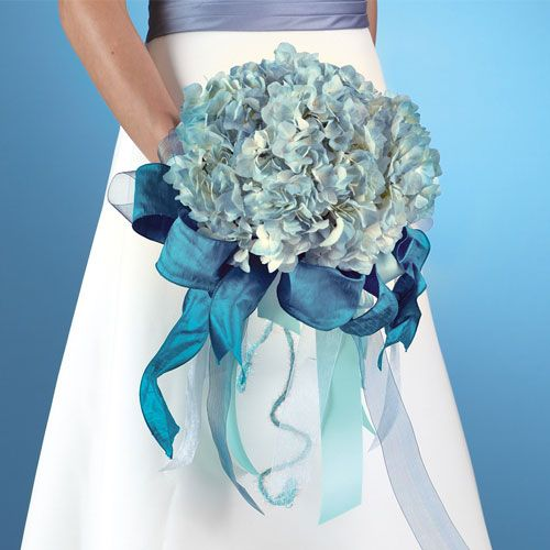 White flowers and blue ribbon