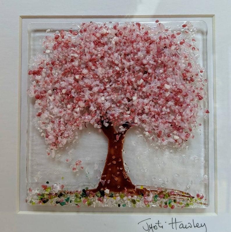 Handmade Fused Glass Art Cherry Blossom Tree Picture In Good Etsy Fused Glass Art Fused Glass Glass Art