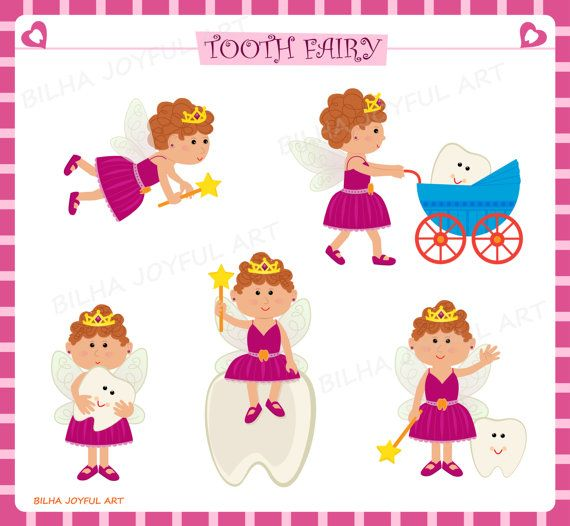 Kinderzimmer clipart  Tooth Fairy clipart Set dental magic wand hygiene baby tooth icons ...