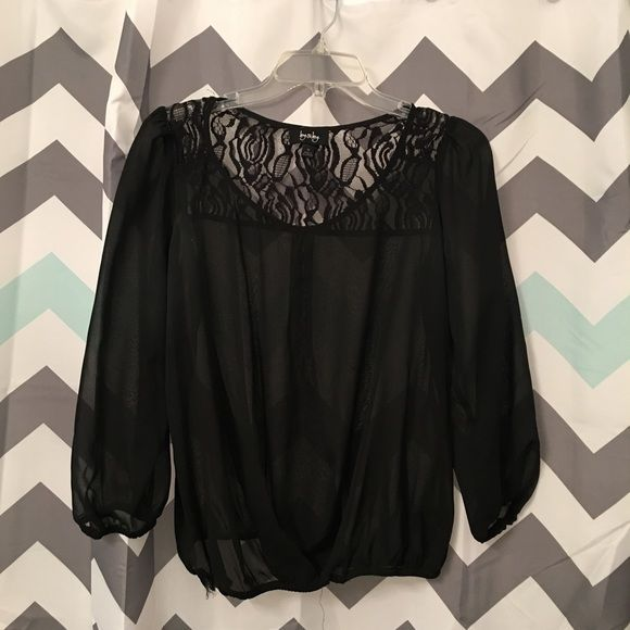 ByxBy Black Lace 3/4 Sleeve Shirt Size M ByxBy Black Lace 3/4 Sleeve Shirt Size M. Comes from a smoke free home. Let me know if you have any questions! ByxBy Tops Blouses