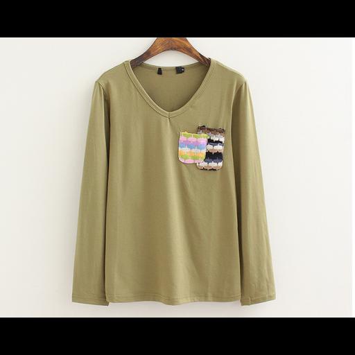 بلوزة قطن زيتي بكم طويل Sweatshirts Color Blouse
