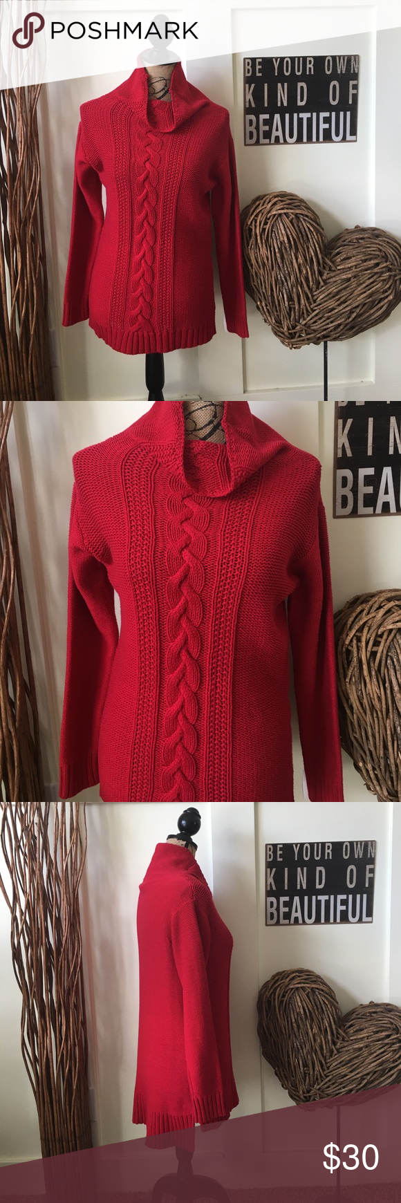 Chaps cherry red mock turtleneck sweater NWT