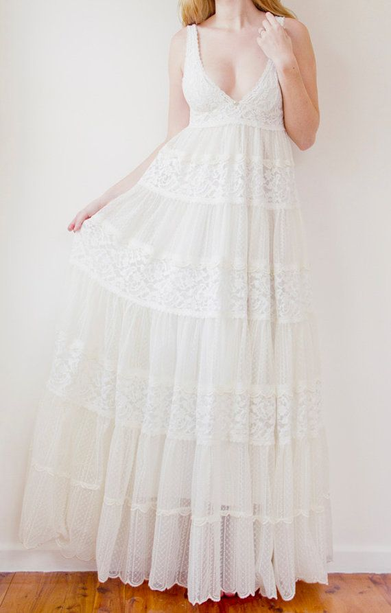 low cut v-neck, lace baby doll style wedding gown in ivory ...