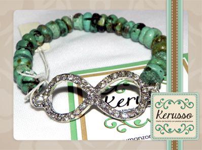 Pulsera con piedras semipreciosas y dije de Infinity. #KerussoBisuteria #Design #Jewelry #HandMade #CostaRica