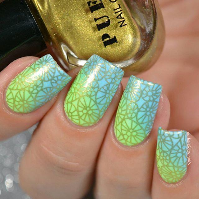 Stamping nail art over gradient. Shimmer nail polish. Nail design ...