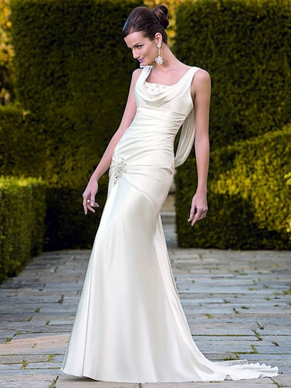 Softly Modified Satin Low Backed Wedding Gown