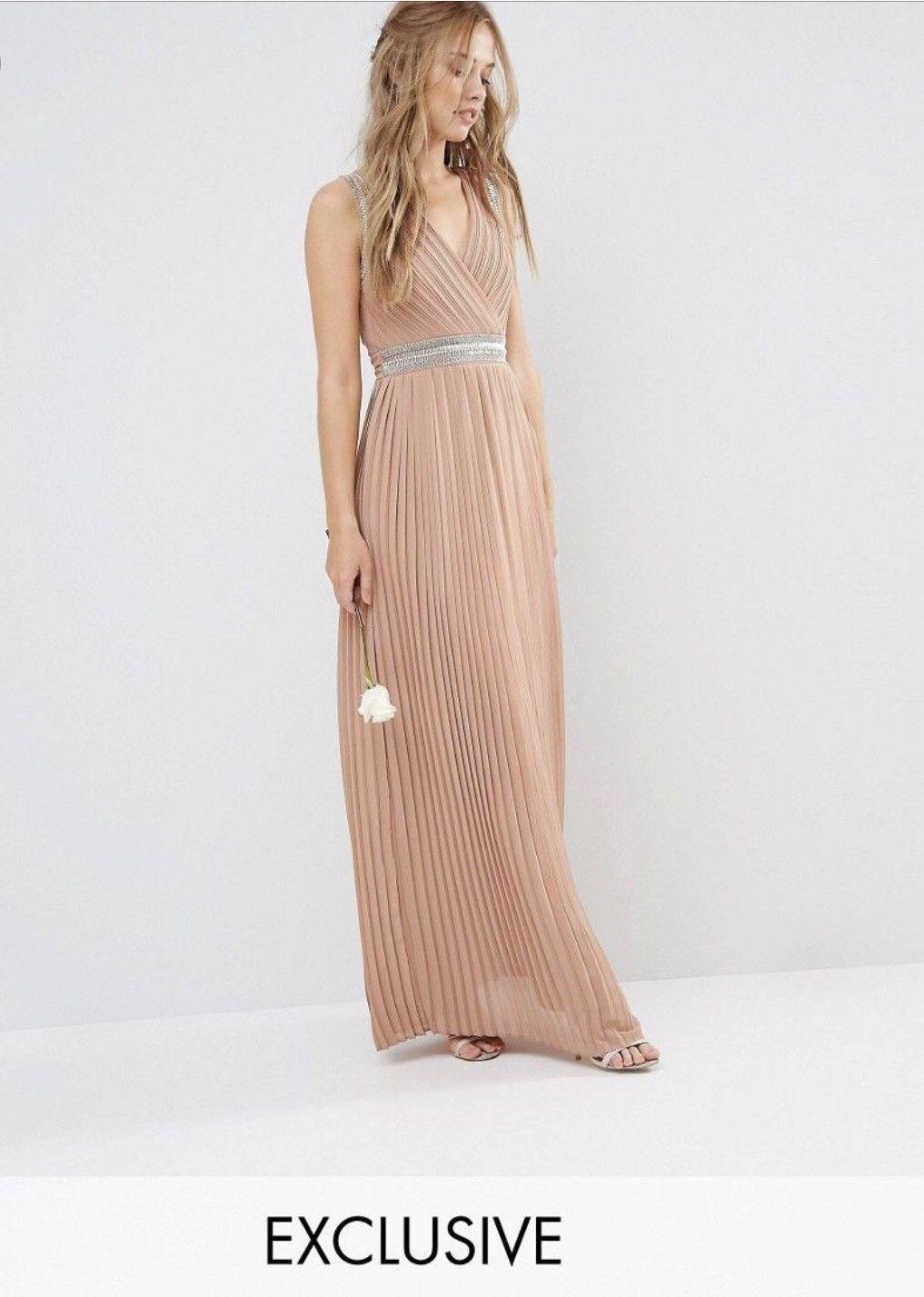 Tfnc asos pleated embellished maxi dress uk xs womenus fashion