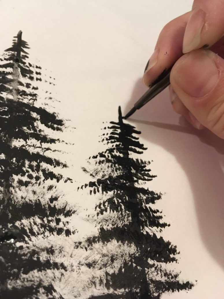painting trees with a fan brush step by step acrylic - HD 775×1033
