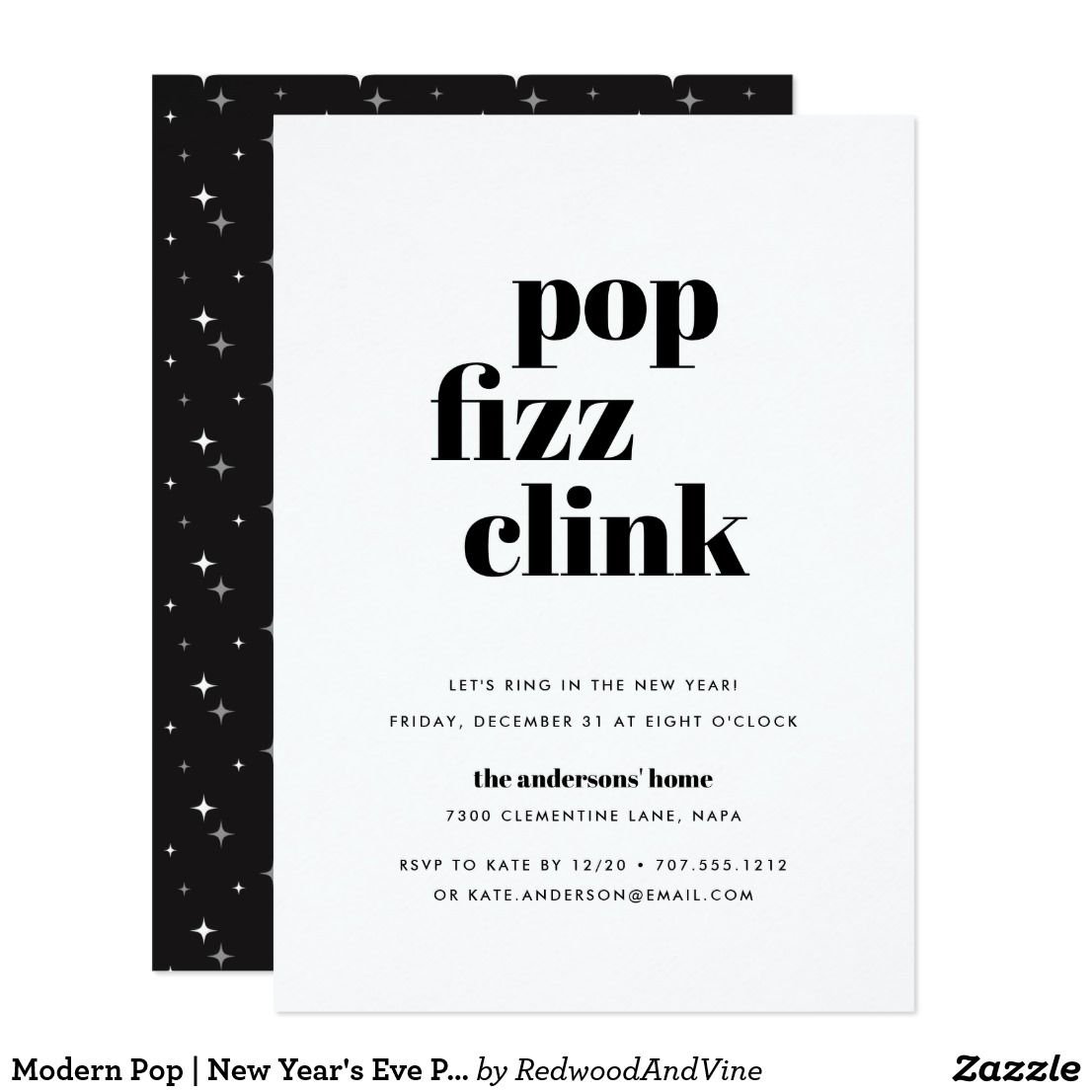 Modern Pop New Year S Eve Party Invitation Zazzle Com New Years Eve Party New Years Eve Events Eve Parties