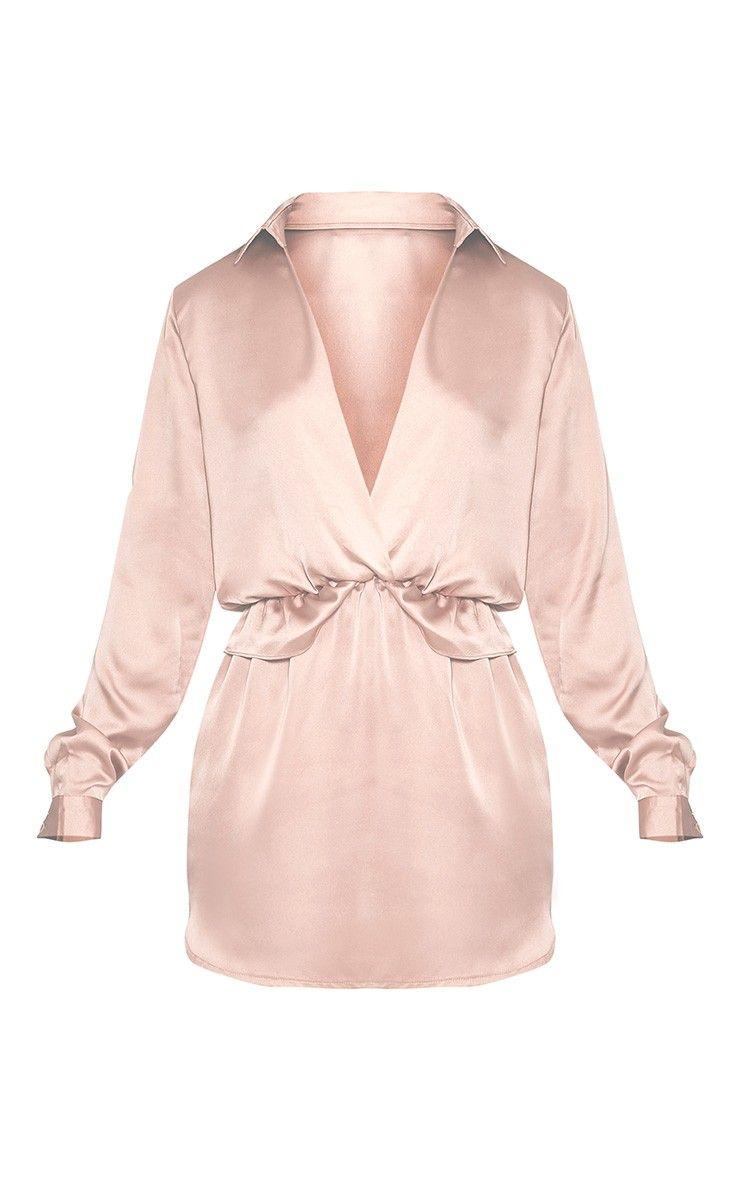 2cd9c597c61 Katalea Champagne Twist Front Silky Shirt Dress Image 3.