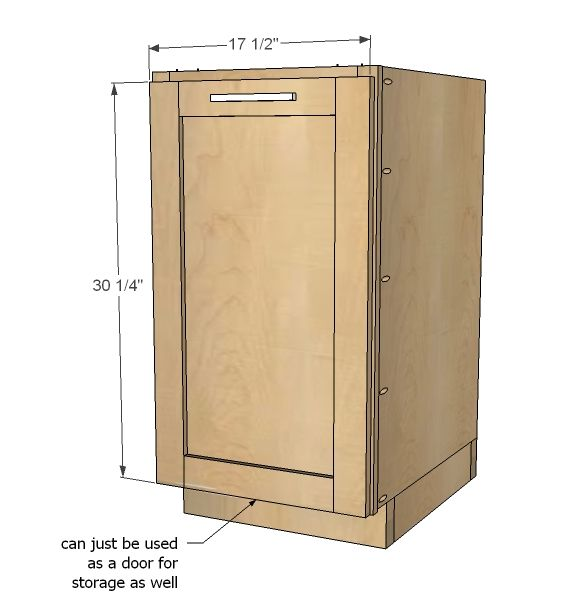 "Free Base Cabinet Plans: Build A 18"" Kitchen Base Cabinet Trash Pull"