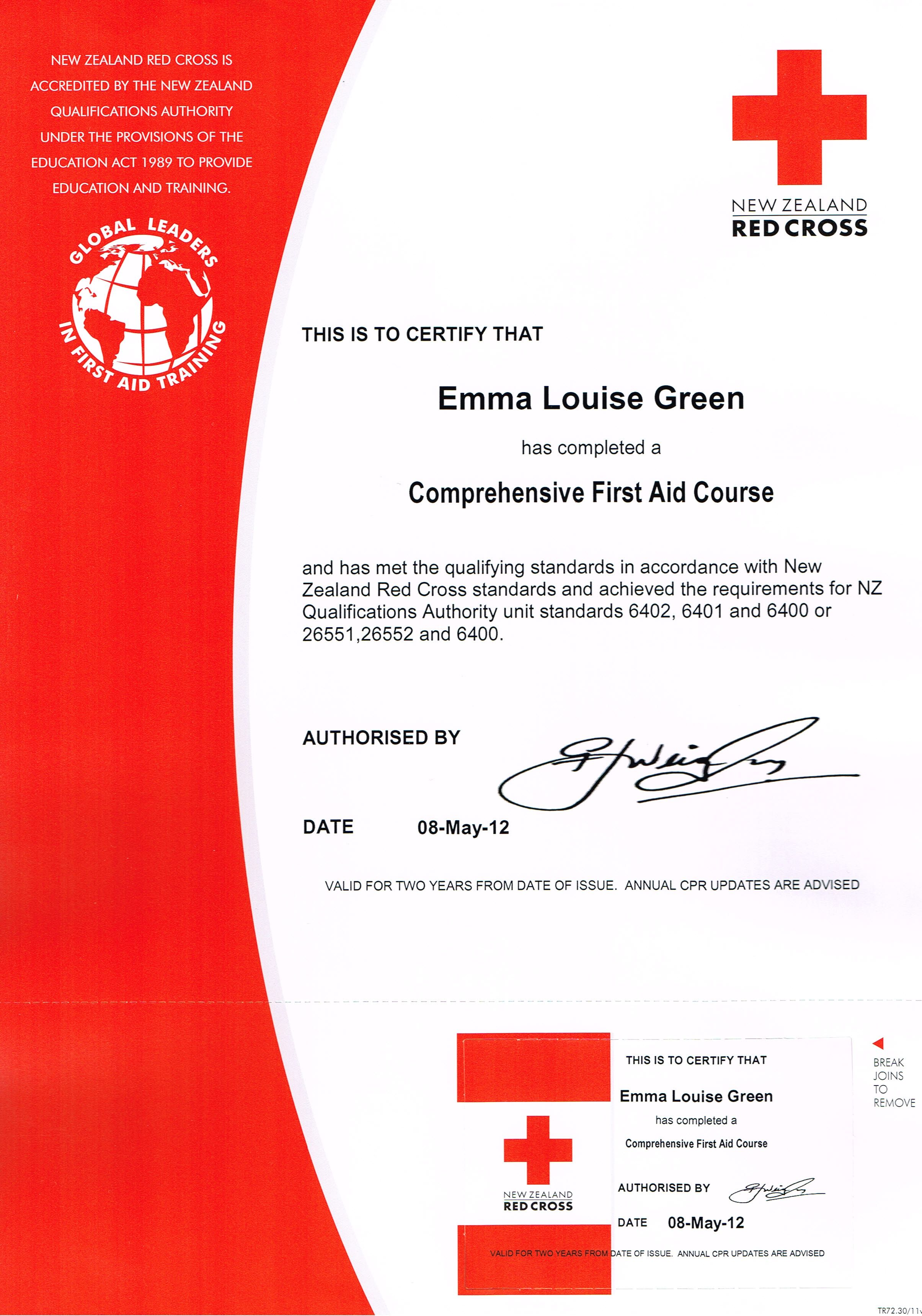 My Red Cross First Aid Certificate Certificates Pinterest