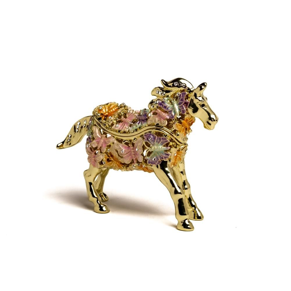 Enamel Painted Trinket Box Decorated with Austrian CrystalsItem Size:Centimeters : H 7.7 * W 2.8 * L 10.1 Inches : H 3 * W 1.1 * L 3.97 #kerenkopal #golden #gold #horse #horses butterfly #butterflies #trinket #trinketbox #trinketboxes #royaljewlery #royaljewelerys #royal #jewels #austriancrystal #austrianctystals #crystal #crystals #enamel #enameltrinket  #enameltrinketbox  #enameltrinketboxes #swarovski  #swarovskitrinket #swarovskitrinketbox #swarovskitrinketboxes #vintage
