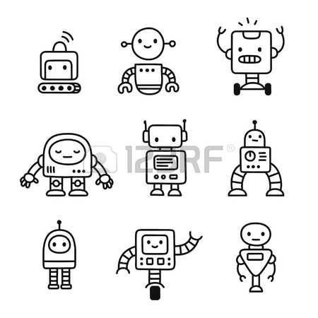Cute Robot Cute Little Cartoon Robots Set Hand Drawn Doodle