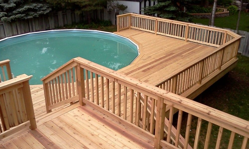 Multi level above ground pool deck design plan bath for Wood pool deck design