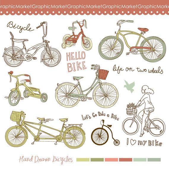 14 Hand Drawn Vintage Bicycles Digital Clip Art Set Scrapbooking Wedding Invitations Cards Stationa Clip Art Vintage How To Draw Hands Digital Clip Art Set
