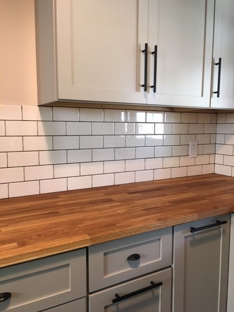 Subway Tile Backsplash Butcher Block