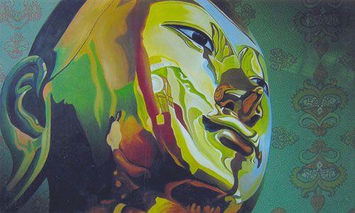 The Sympathetic Buddha by Koung Sei Thu - acrylic on canvas