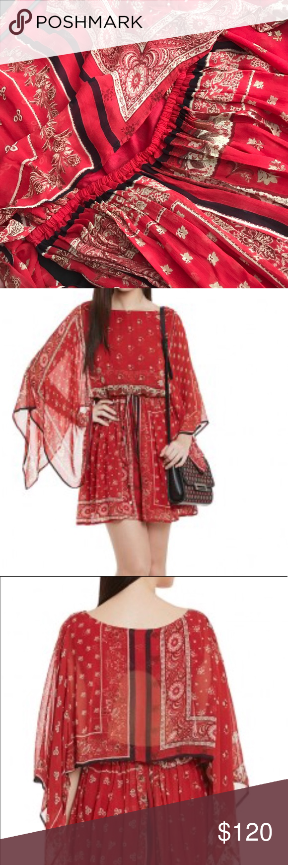 Label ritu kumar red dress bought from india printed short dress by