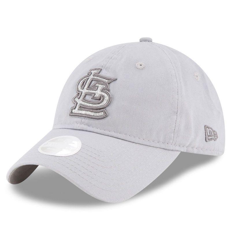 St. Louis Cardinals New Era Women's Team Glisten 9TWENTY Adjustable Hat - Gray
