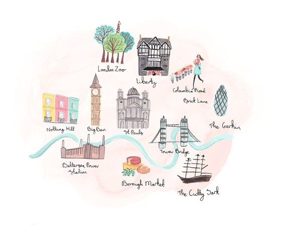 Olivia S London A4 Art Print By Emmablock On Etsy Illustrated