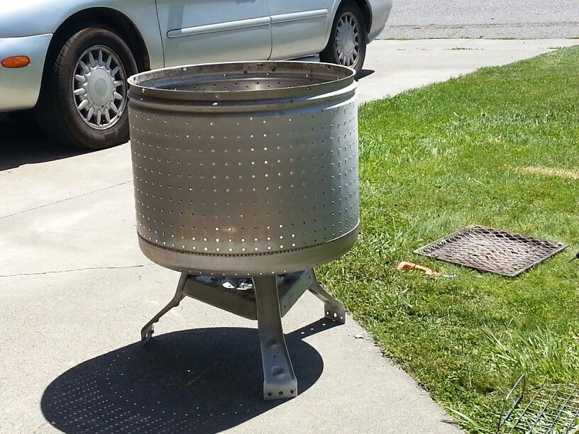 Fire pit made out of broken washing machine drum. Just bolt to the ...