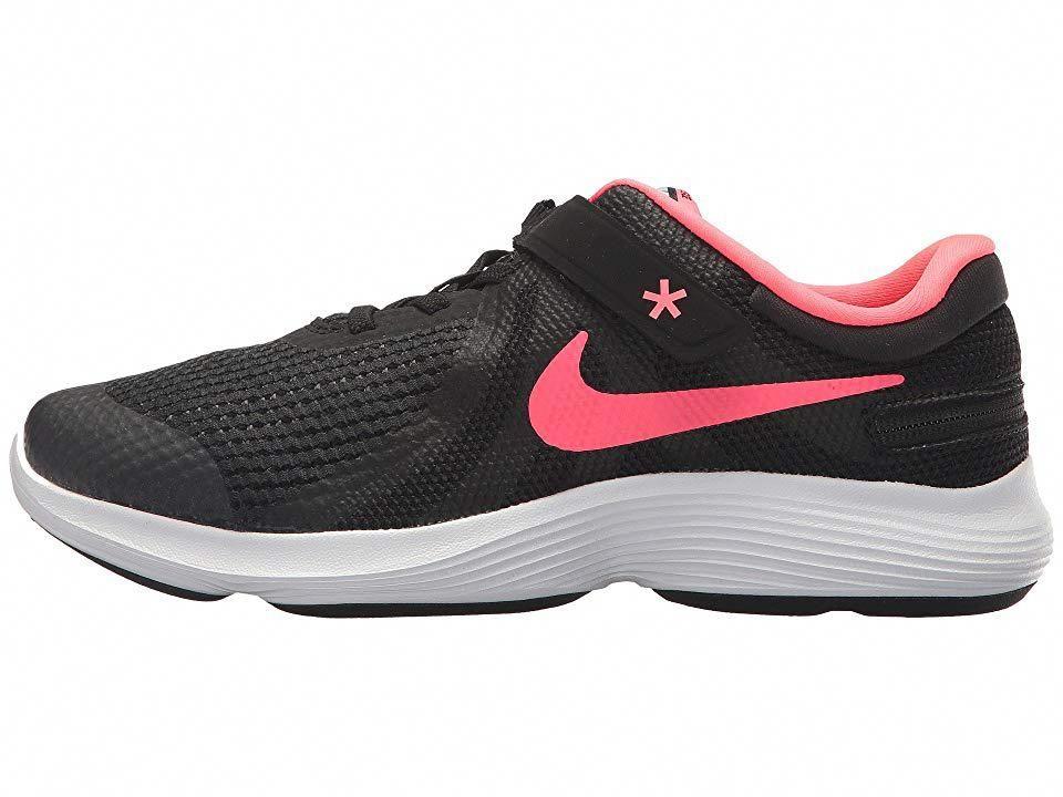 5efd62b9ad48 Nike Kids Revolution 4 FlyEase Wide (Big Kid) Girls Shoes Black Racer Pink