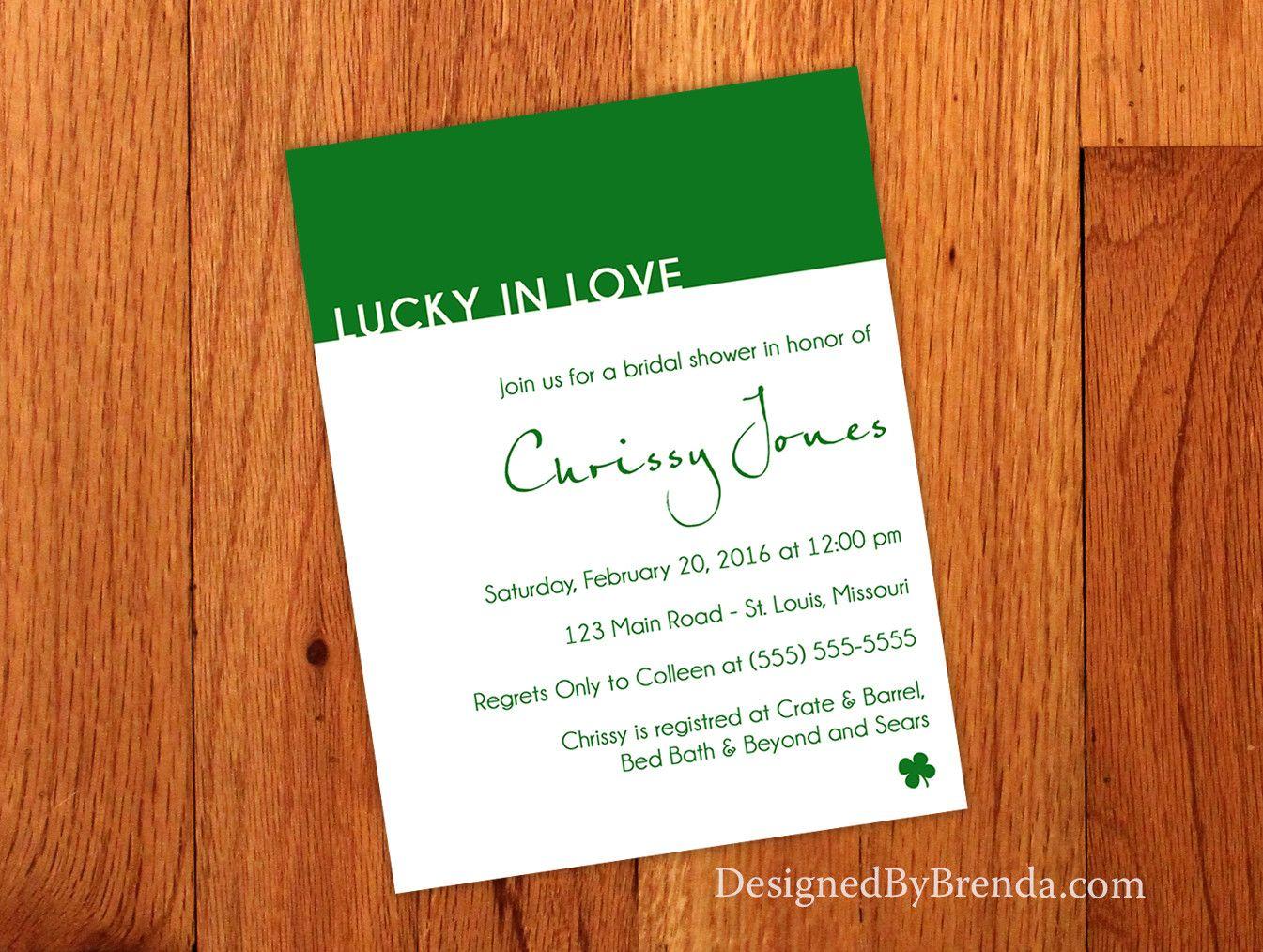 blank beach bridal shower invitations%0A Modern Lucky in Love Wedding Shower Invitation  Kelly Green